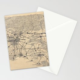 Vintage 1915 Los Angeles Area Map Stationery Cards