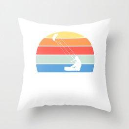 "Retro ""Kite"" T-shirt Design Kitesurfer Kitesurfing Bridle Tail Wind Park Festival Anchor Silhouette Throw Pillow"