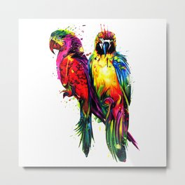 Rainbow Parrots Metal Print