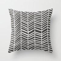 herringbone Throw Pillows featuring Herringbone – Black & White by Cat Coquillette