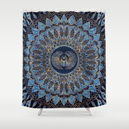 Egyptian Scarab Beetle Gold and Blue marble Shower Curtain