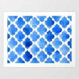 Quatrefoil pattern in shades of blue Art Print