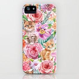 Kittens in flowers iPhone Case