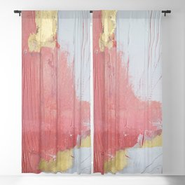Melody: a pretty minimal abstract painting in gold pink and white by Alyssa Hamilton Art Blackout Curtain