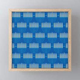 Hanukkah Menorah Pattern In Classic Holiday Blue Framed Mini Art Print