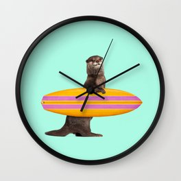 SURFING OTTER Wall Clock