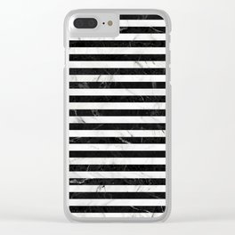 Marble Stripes Pattern - Black and White Clear iPhone Case