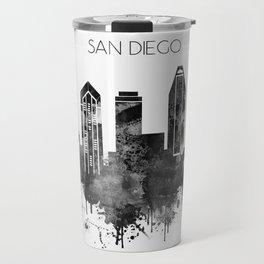 Black and white watercolor San Diego skyline Travel Mug