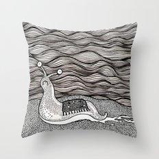 Sad snail Throw Pillow