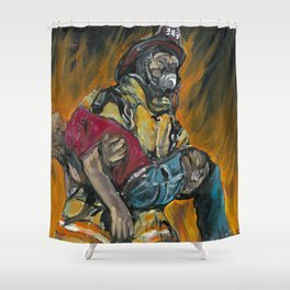 Fire Fighting. Shower Curtain