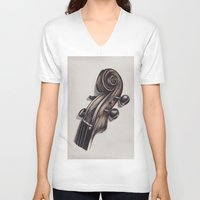 violin V-neck T-shirts featuring violin by Buffy Ino Kua