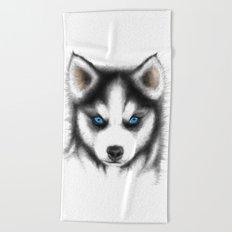 Siberian Husky Beach Towel