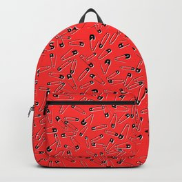 Red safety pins punk glam pattern - punk style - glam fashion Backpack