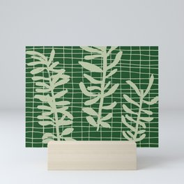 green grid leaf sprig pattern Mini Art Print
