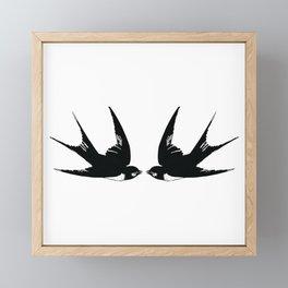 Double Swallow Illustration Framed Mini Art Print
