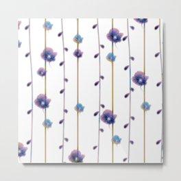 pansies floral minimal pattern Metal Print