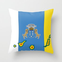 Canary Islands Flag with Map of the Canary Islands Islas Canarias Throw Pillow
