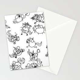 Phat Unicorns Collage Black and White Stationery Cards