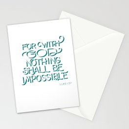 For with God - Bible Verse Stationery Cards