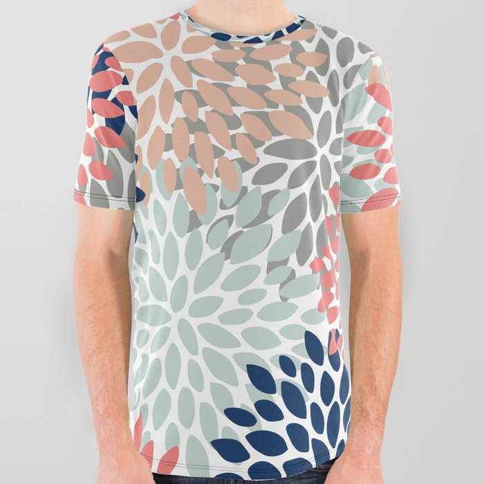 Floral_Bloom_Print_Living_Coral_Pale_Aqua_Blue_Gray_Navy_All_Over_Graphic_Tee_by_Megan_Morris__Large