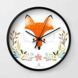 Fox & Florals Wall Clock