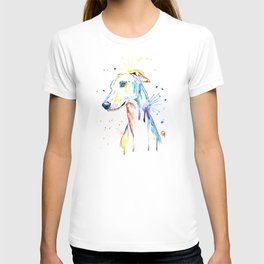 Greyhound Colorful Watercolor Pet Portrait Painting T-shirt
