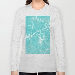 Aqua white modern stylish marble Long Sleeve T-shirt