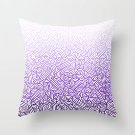 Gradient purple and white swirls doodles Throw Pillow