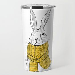 Rabbit in a yellow scarf Travel Mug