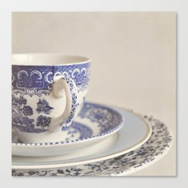 China cup and plates. Canvas Print