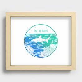 Save the Sharks! Recessed Framed Print