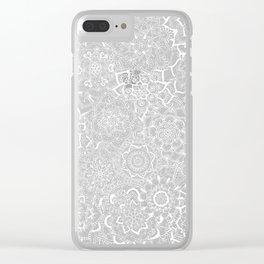 Delicate Lace Mandala Pattern (Grey/Cream) Clear iPhone Case