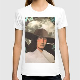 Portrait of A Southwestern Traveler with The Moon & Geometric Shapes In The Background T-shirt