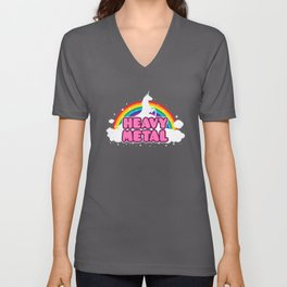 HEAVY METAL! (Funny Unicorn / Rainbow Mosh Parody Design) Unisex V-Neck