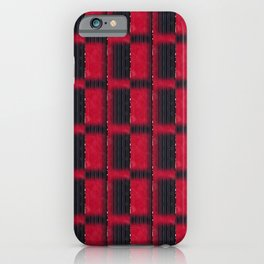 Imperial Red & Black Onyx Half Blocks with a Touch of Gold (Faux Texture) iPhone Case