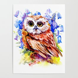 Owl Who Loves Bluebell Flowers, Owl art, Bright colored Owl design Poster