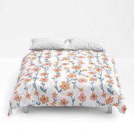 Orange Blue Foral Pattern Comforters