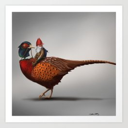 Winter Gnome on Pheasant Art Print