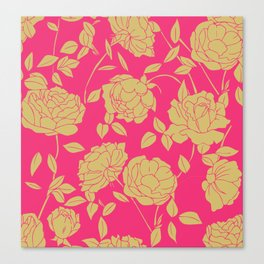 Hot Pink Floral Canvas Print
