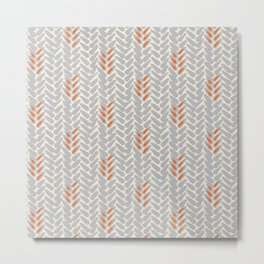 Orange and Grey Wheat Pattern Metal Print