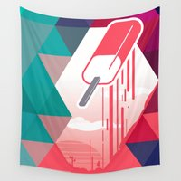 popsicle Wall Tapestries featuring Watermelon Popsicle by Spires