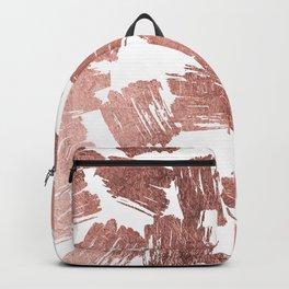 Modern faux rose gold artistic brushstrokes pattern Backpack