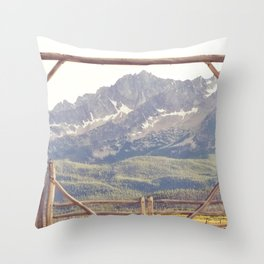 Western Mountain Ranch Throw Pillow
