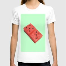 WATERMELON DOMINO SMALL White Womens Fitted Tee