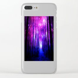 Magical Forest Path Fuchsia Purple Blue Clear iPhone Case