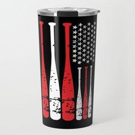 American Flag Baseball Gift Idea 4th Travel Mug