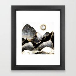 Minimal Black and Gold Mountains Framed Art Print