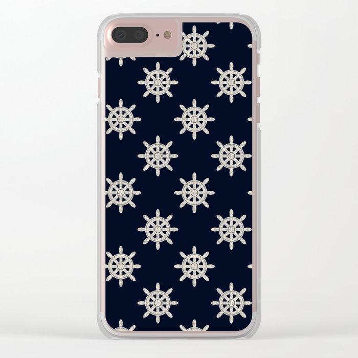 Maritime Design- Nautic Wheel in white on darkblue backround Clear iPhone Case