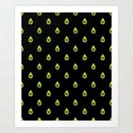 Avocado Hearts (black background) Art Print