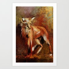 Abstract Red Fox Art Print